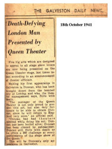 article in the Galveston daily news from 1941 about a death defying London man