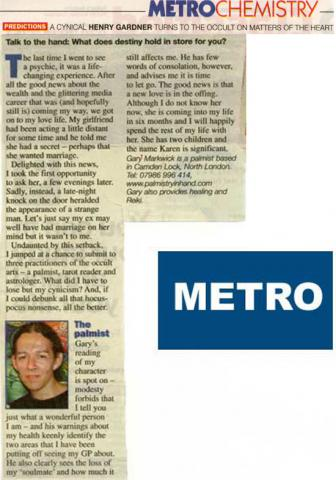 Metro Chemistry article about palmist Gary Markwick